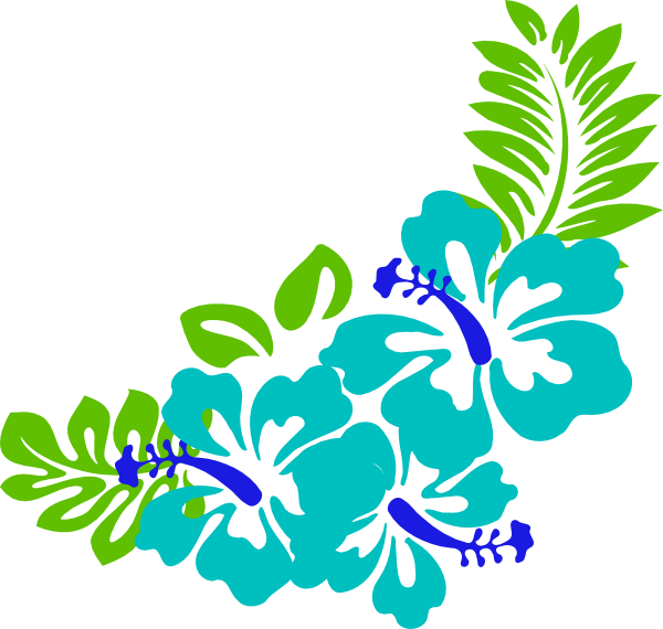 Hawiian flower clipart banner free download tropical leaves clipart | Blue Green Tropical Flowers clip art ... banner free download