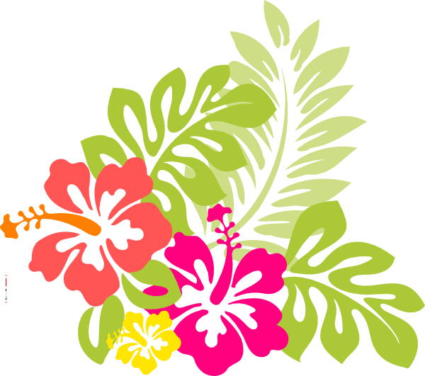 Beach flower clipart banner black and white stock Flowers from hawaii, the exotic hibiscus flower with word art ... banner black and white stock