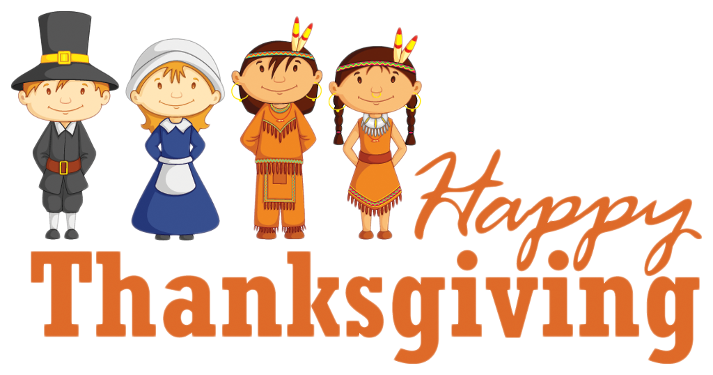 Happy thanksgiving clipart jpg library download Transparent Happy Thanksgiving with Pilgrim and Native Americans ... jpg library download