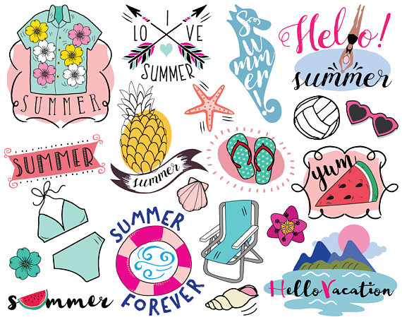 Beach letter m clipart individual banner black and white Vacation Summer Clipart, vector, summer clip art, beach clipart ... banner black and white