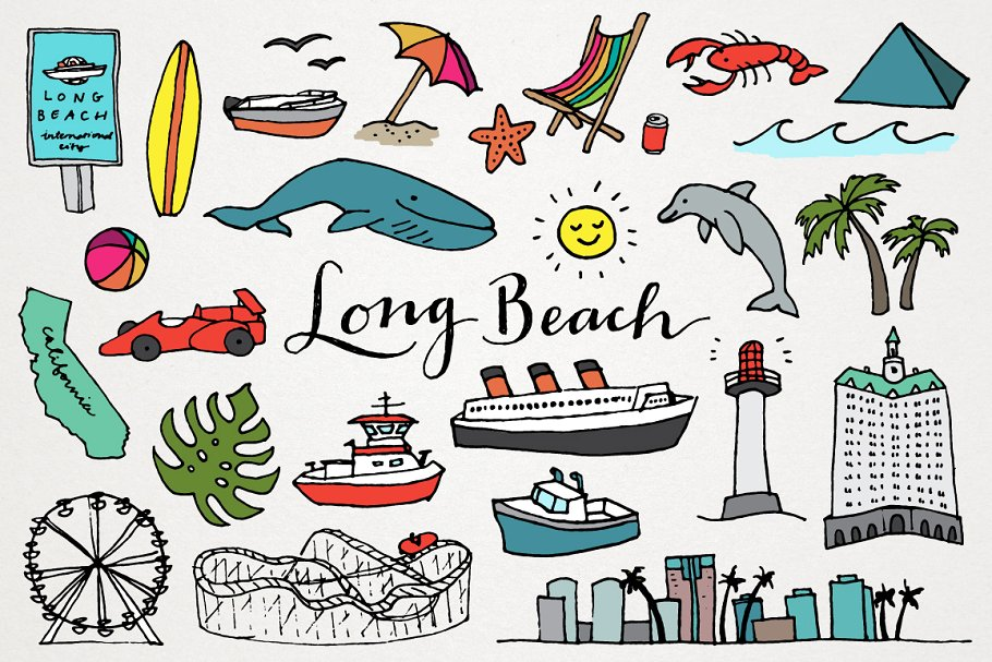 Beach letter s clipart individual banner library Long Beach Clipart Illustrations banner library