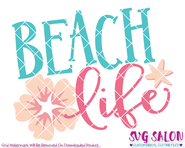 Beach life clipart black and white stock Beach Life Cut File in SVG, EPS, DXF, JPEG, and PNG black and white stock