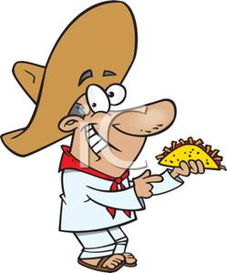 Beach mexican guy clipart clipart royalty free download A Smiling Mexican Man with a Taco - Royalty Free Clipart Picture clipart royalty free download