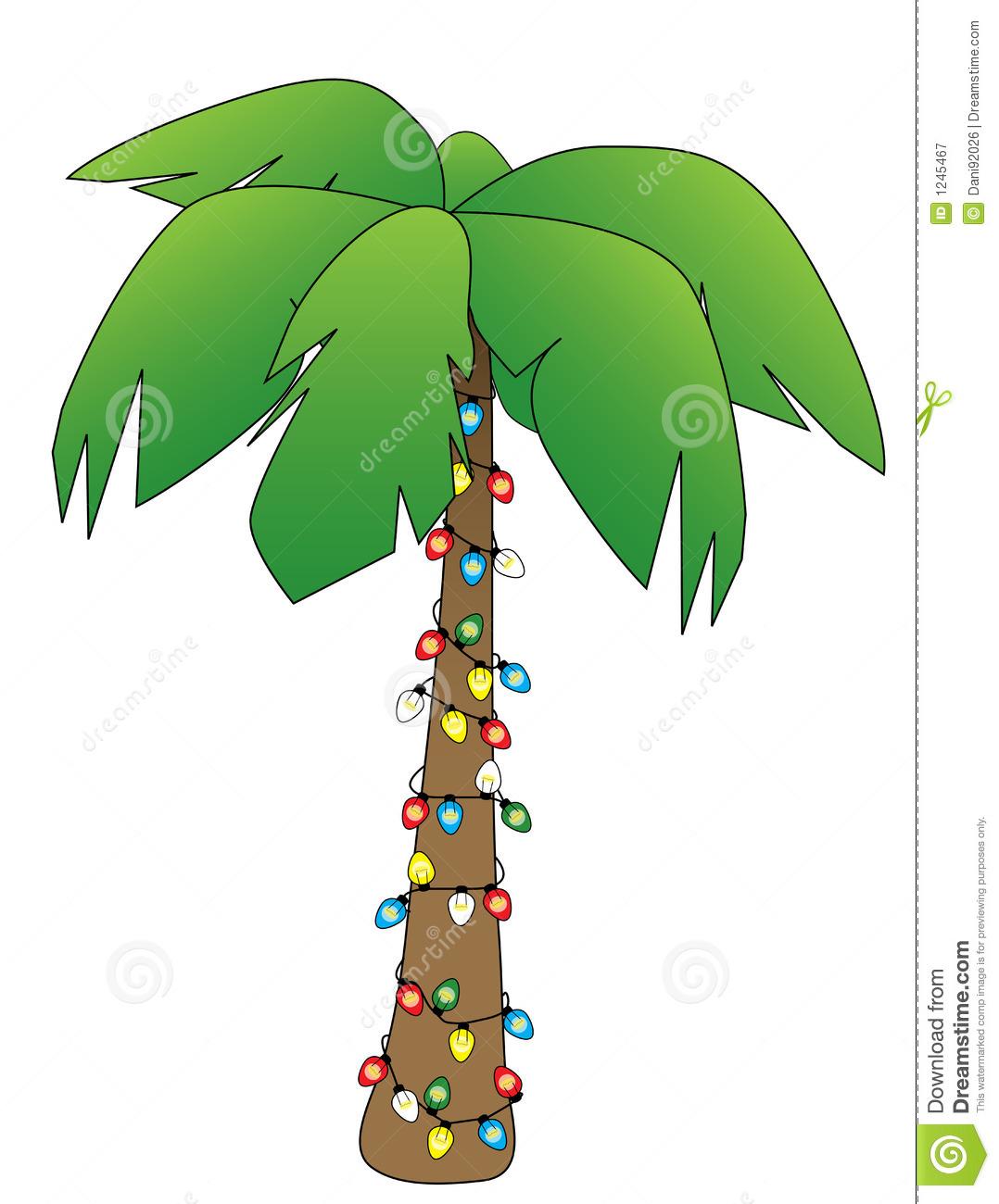 Beach palm tree christmas clipart
