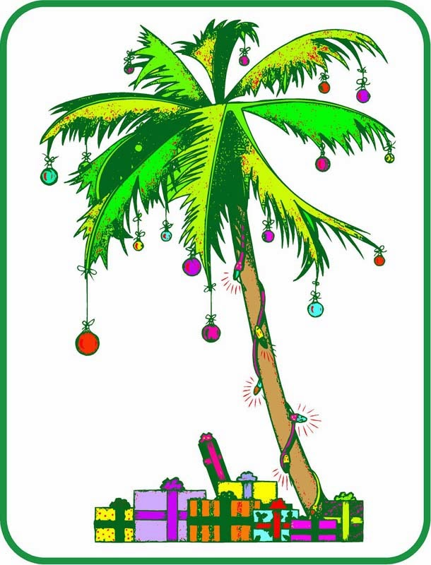 Palm tree christmas tree clipart