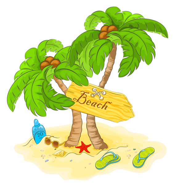 Beach palm tree clipart vector free download Transparent Beach Palm Decor PNG Clipart | природные явления ... vector free download