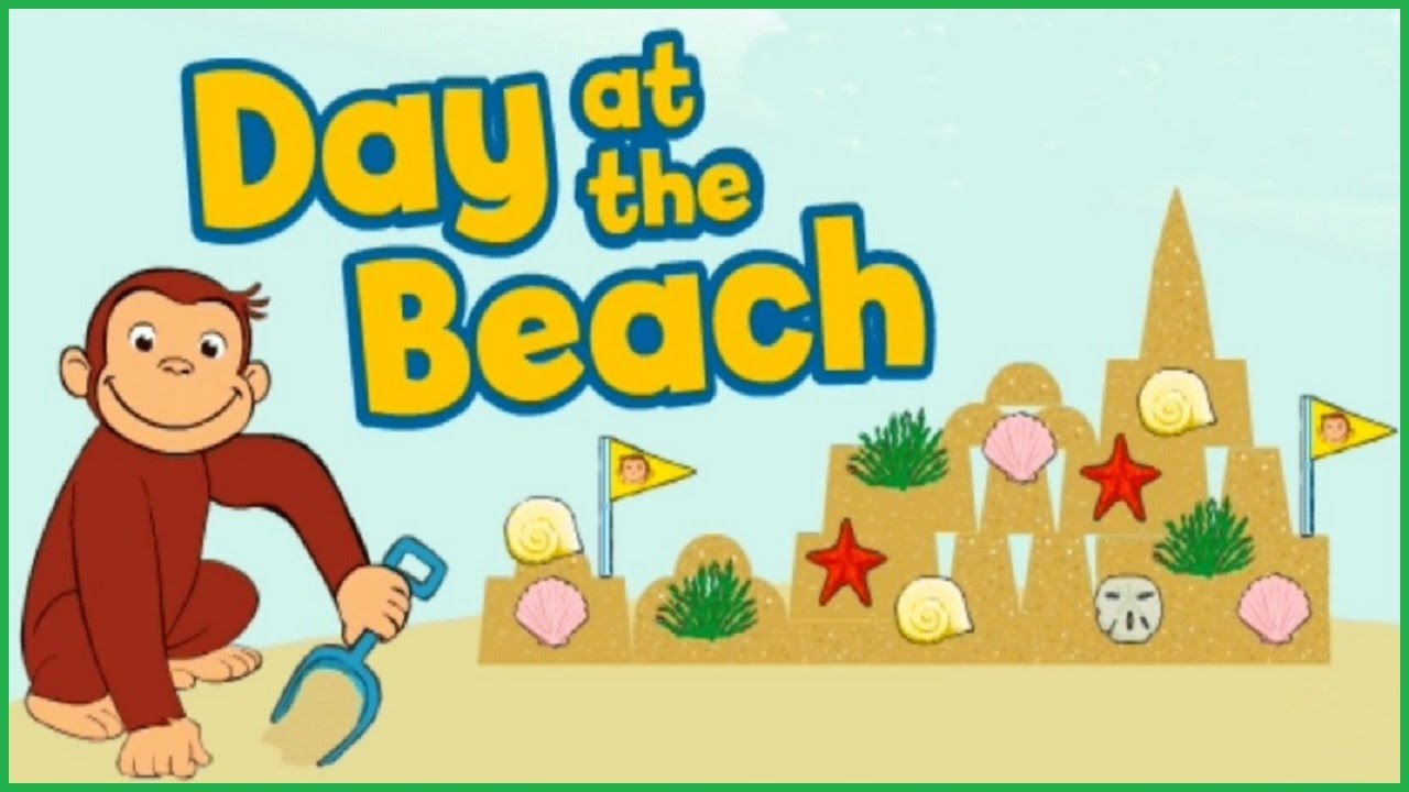 Beach play day clipart banner black and white Curious George - Day at the Beach English Game banner black and white