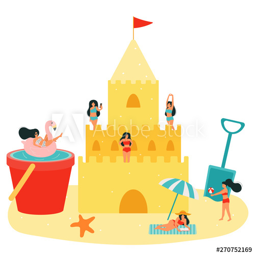 Beach play day clipart freeuse library Beach vector illustration. Sand castle and small people. Women relax ... freeuse library