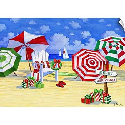 Beach primary color umbrella clipart black and white download Amazon.com: CANVAS ON DEMAND Paul Brent Wall Peel Wall Art Print ... black and white download