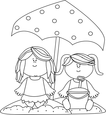Beach sand clipart black and white clipart transparent download Black and White Girls Playing in the Sand Clip Art - Black and White ... transparent download