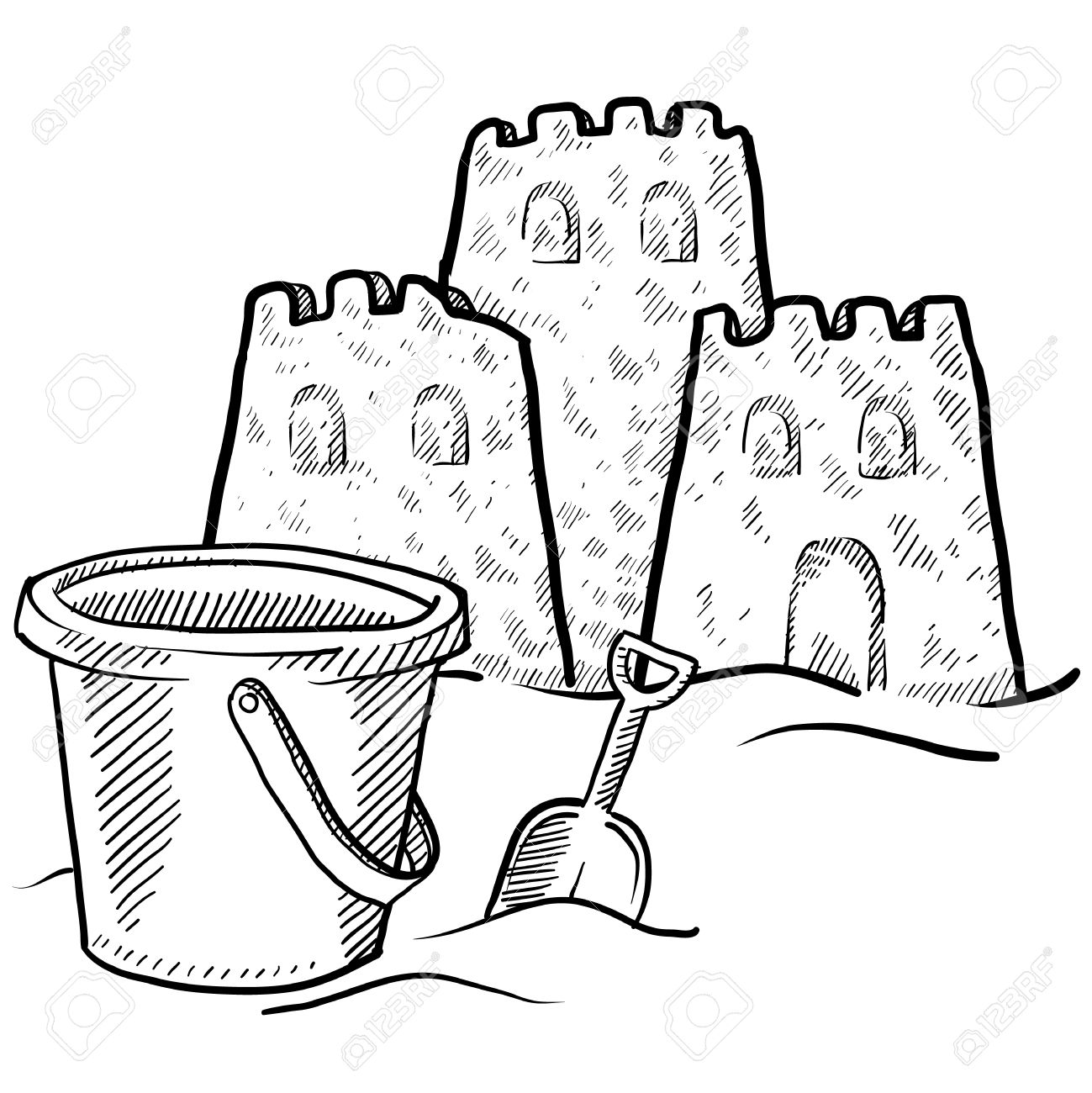 Beach sand clipart black and white clipart png stock Doodle Style Sketch Of Beach Sand Castle Construction In Illus ... png stock