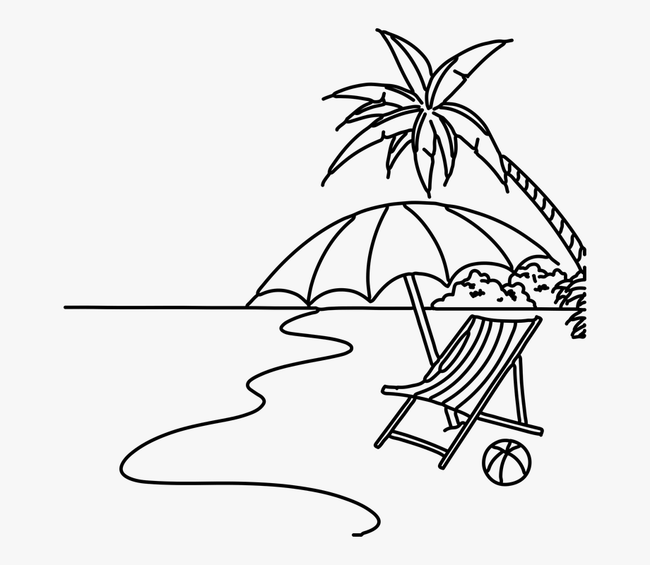 Beach scene clipart black and white png freeuse library Black Clipart Beach - Beach Scene Easy Drawing, Cliparts & Cartoons ... png freeuse library