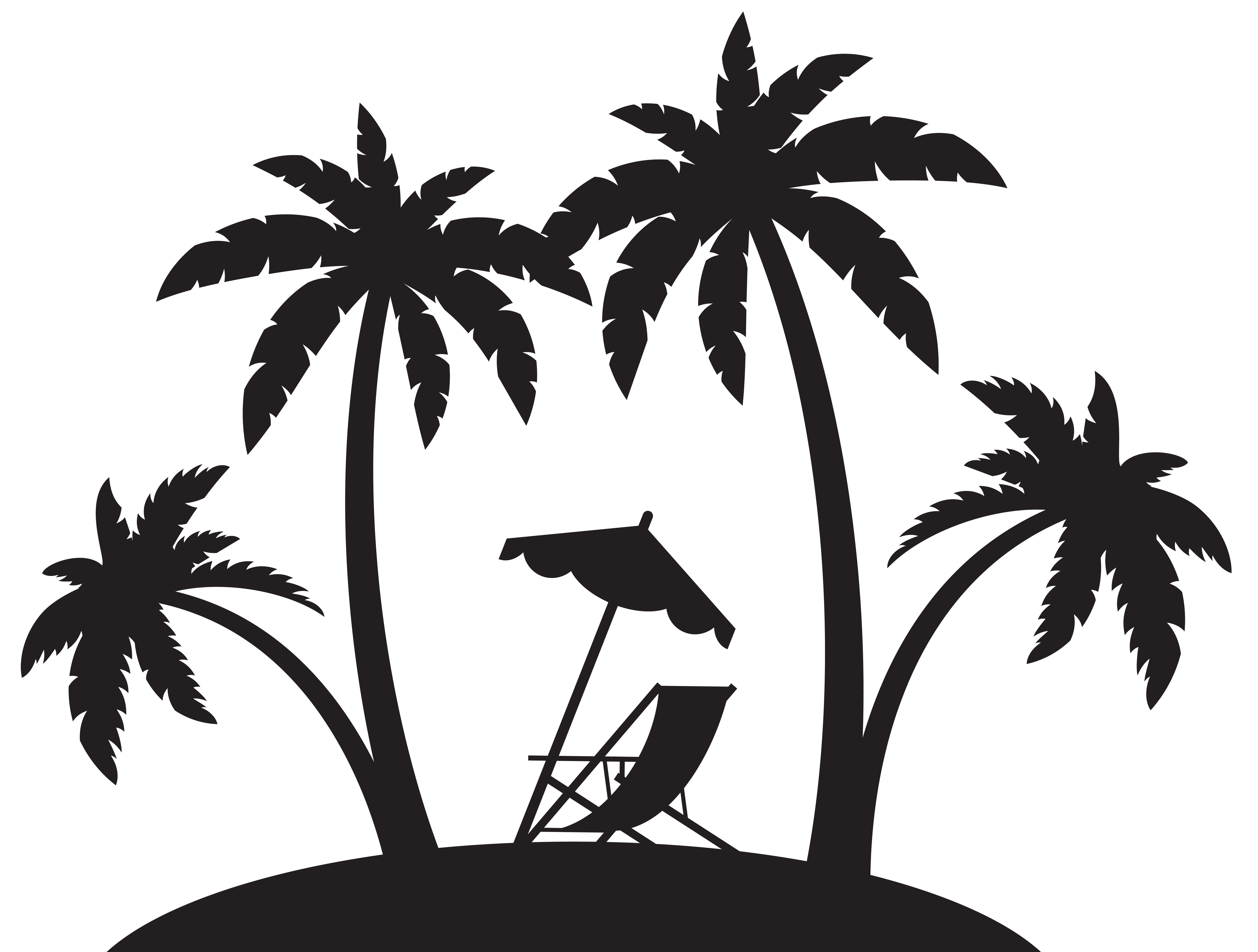 Palm tree island clipart black and white graphic library stock Beach Silhouette Pictures at GetDrawings.com | Free for personal use ... graphic library stock