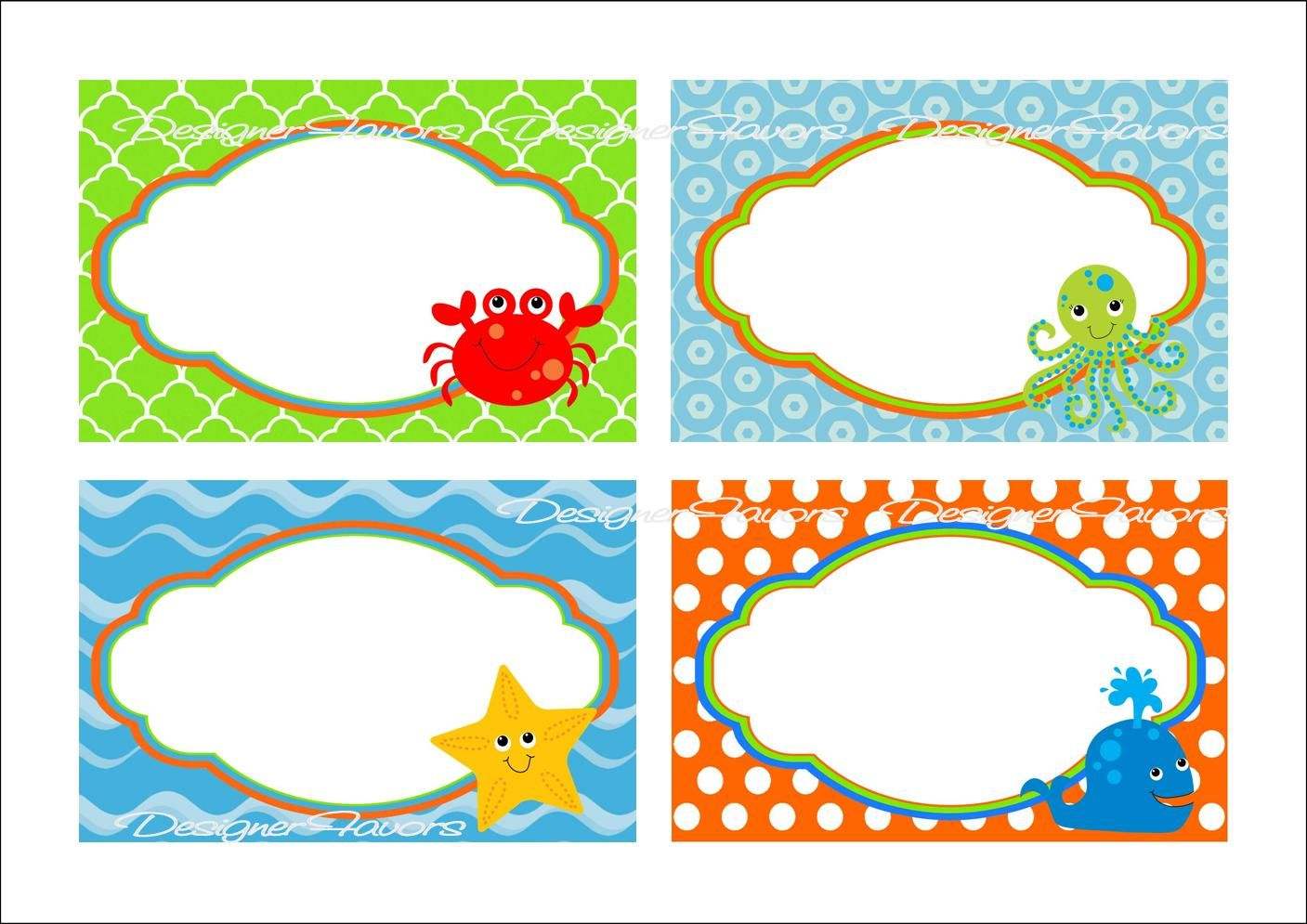 Beach themed clipart free png transparent Under the Sea Food Labels Free Printable Tags - ImageStack ... png transparent