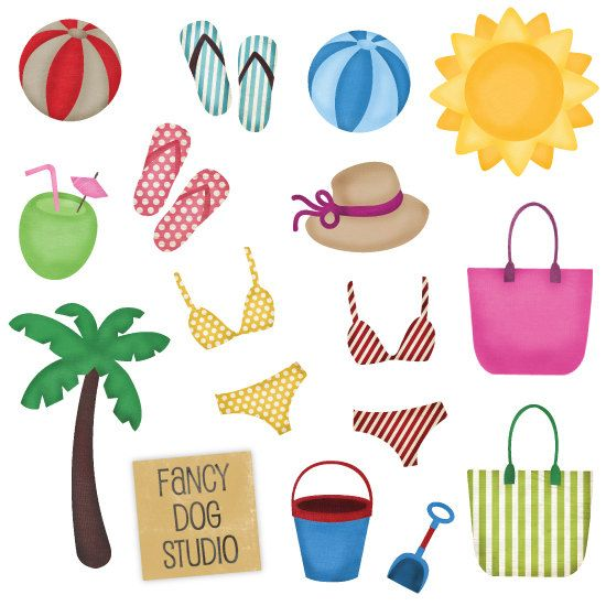 Beach themed cliparts clip art transparent library Beach Themed Icon Emebllishments | IMAGES-PRINTABLES | Clip art ... clip art transparent library