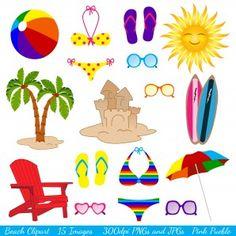 Beach themed cliparts clip stock 13 Best Beach Birthday images in 2013 | Beach clipart, Beach party ... clip stock