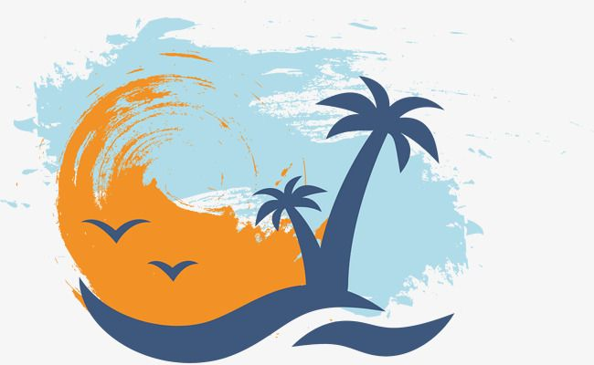 Beach vector clipart picture black and white download Palm Vector, Hand, Watercolor, Coconut Tree PNG and Vector with ... picture black and white download