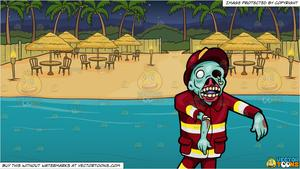 Beach view clipart clipart freeuse stock A Creepy Looking Fireman Zombie and A Beach View Dinner Site Background clipart freeuse stock