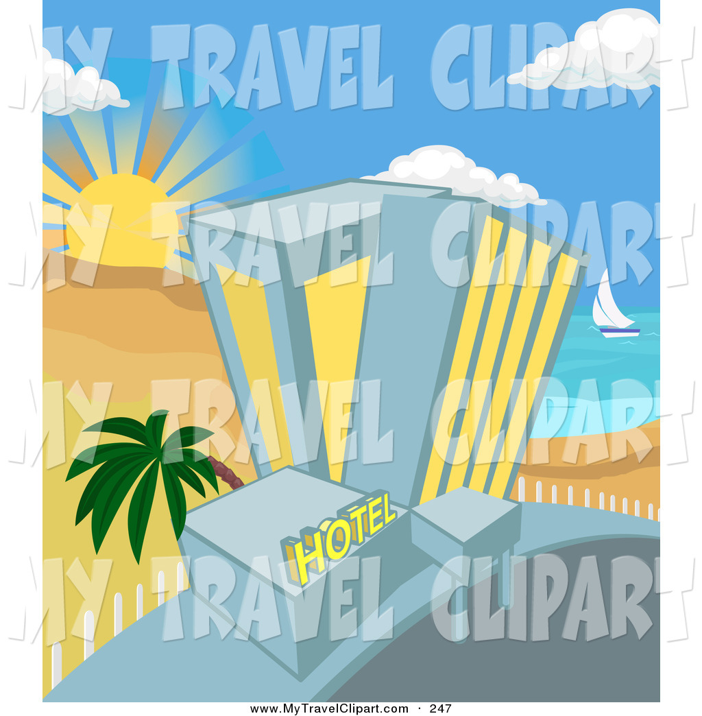 Beachfront clipart banner royalty free Clipart of a Hotel on a Tropical Beachfront with a Palm Tree in ... banner royalty free
