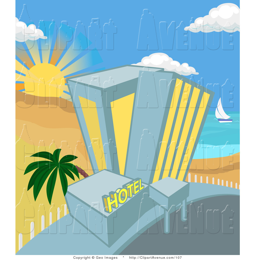 Beachfront clipart clipart freeuse library Avenue Clipart of a Tall Hotel on a Tropical Beachfront by ... clipart freeuse library