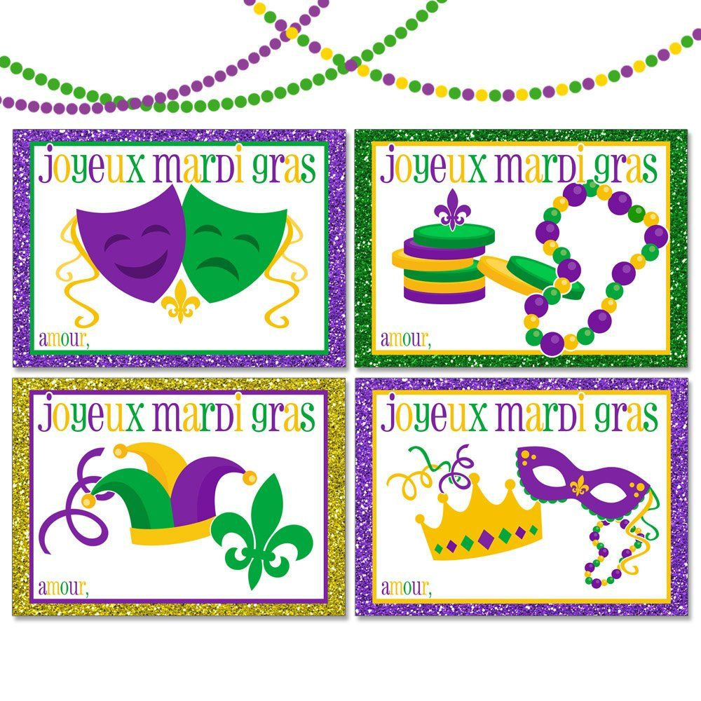 Beads purple green clipart vector transparent download Set of 16 Personalized Mardi Gras Cards with Masks Beads Coins Crown ... vector transparent download