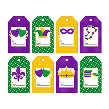 Beads purple green clipart jpg transparent Amazon.com : Set of 24 Mardi Gras Gift Tags with Party Masks Beads ... jpg transparent