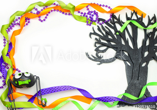 Beads purple green clipart clip art freeuse library Halloween border of a rough textured wooden cutout of bare tree ... clip art freeuse library