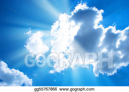 Beam of light shining through clouds clipart picture black and white library Stock Illustration - The blue sky and sun beams shining through ... picture black and white library