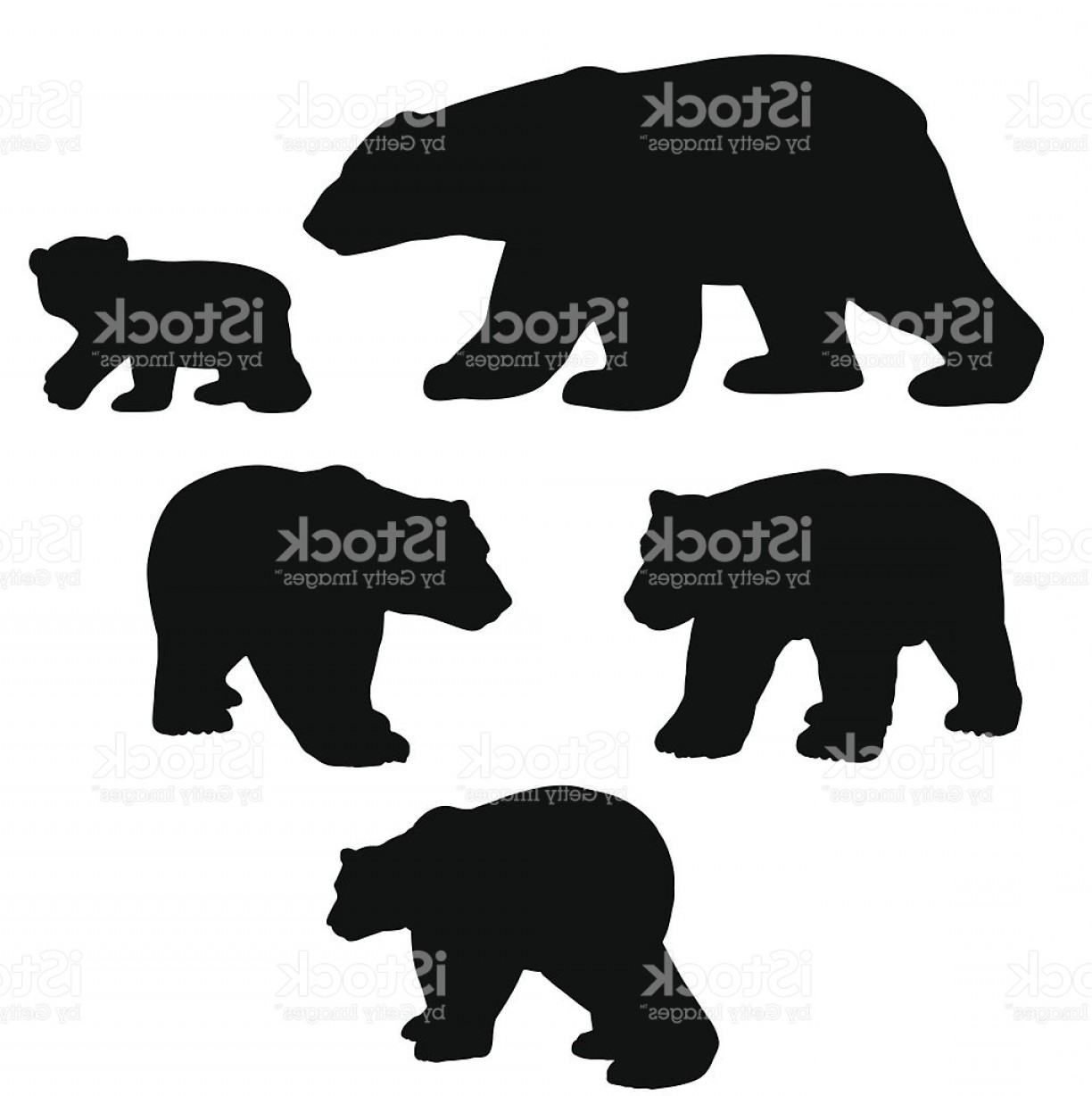 Bear and cub shadow clipart picture freeuse Polar Bear Silhouette Collection With Cub Gm | SOIDERGI picture freeuse