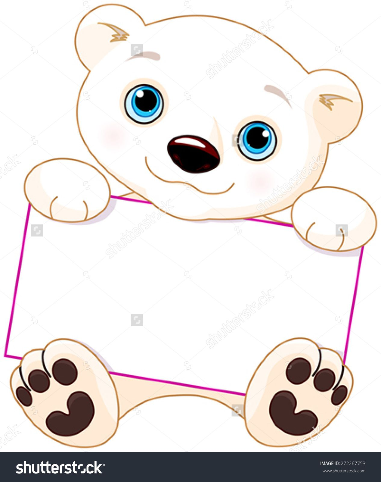 Bear and sign clipart graphic freeuse Cute Polar bear holds a sign | School | Cute polar bear, Bear signs ... graphic freeuse
