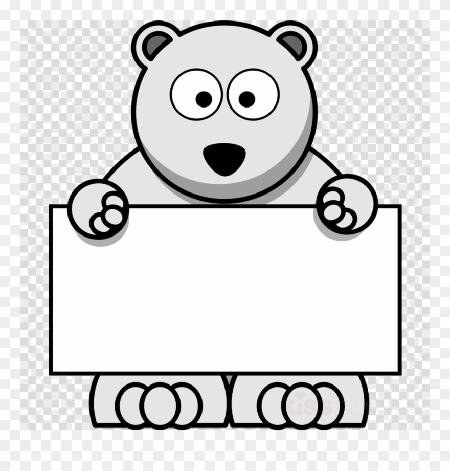 Bear and sign clipart png black and white library Cartoon Polar Bear Clipart Polar Bear Clip Art - Png Clipart Polar ... png black and white library