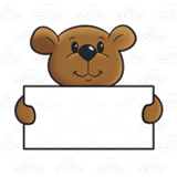 Bear and sign clipart banner freeuse download Bear Holding Sign, brown banner freeuse download