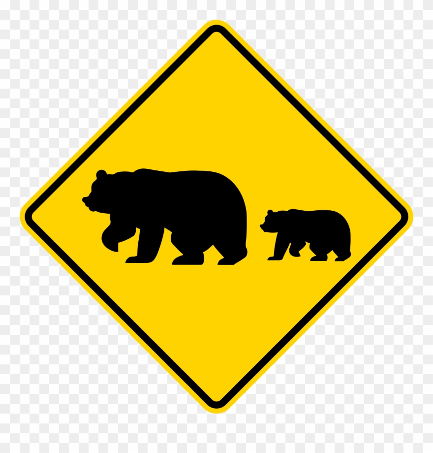 Bear and sign clipart clipart California Svg Bear Clip Freeuse - Bear Crossing Sign - Png Download ... clipart