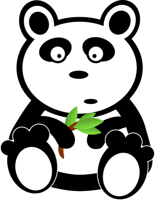 Panda bear animations shocked. Cute apple clipart black and white
