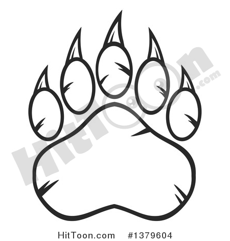 Bear black and white clipart bear paw free library Grizzly Bear Clipart #1379604: Black and White Grizzly Bear Paw by ... free library
