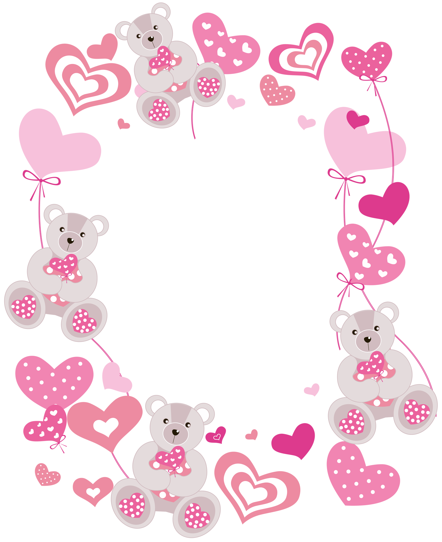 Bear borders clipart clipart free download Transparent Hearts PNG Photo Frame with Teddy Bears | Gallery ... clipart free download