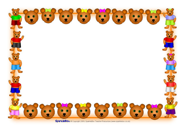 Bear borders clipart banner library library Teddy A4 Page Borders (SB2683) - SparkleBox banner library library