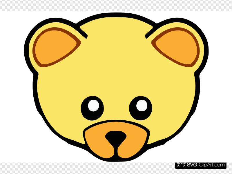 Bear clipart face image black and white download Yellow Cute Teddy Bear Face Clip art, Icon and SVG - SVG Clipart image black and white download