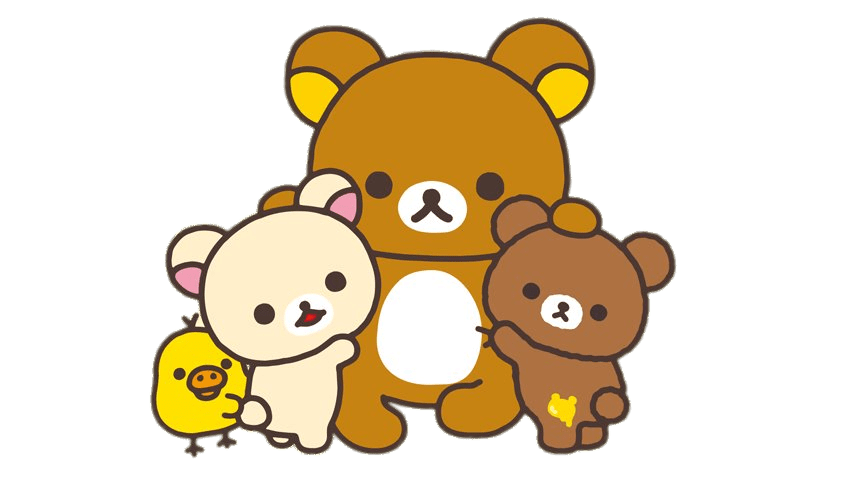 Bear eating fish clipart image library stock Rilakkuma and Friends Group Hug transparent PNG - StickPNG image library stock