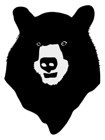 Bear head silhouette clipart image black and white download a black silhouette of serie of animals, bear: Royalty-free vector ... image black and white download