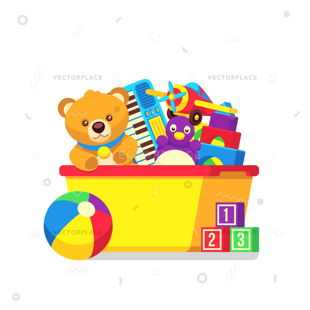 Bear in a box clipart vector transparent library Kids toys in kids box vector clipart. Cartoon kids toys in box castle and  teddy bear illustration vector transparent library
