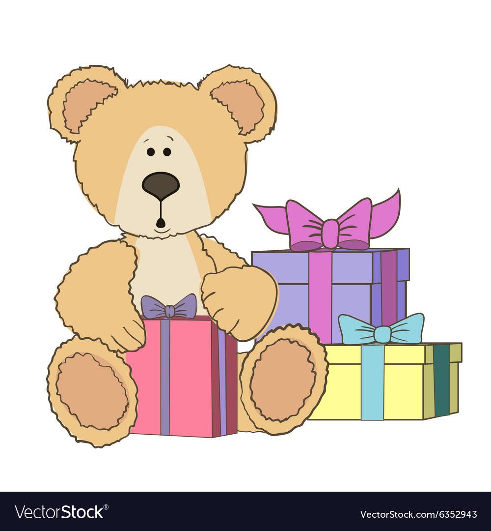 Bear in a box clipart clipart royalty free Teddy Bear is sitting with gift box clipart royalty free