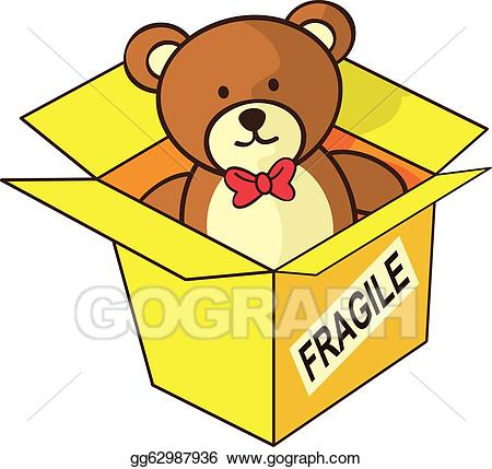 Bear in a box clipart picture transparent Vector Clipart - Teddy bear inside box. Vector Illustration ... picture transparent