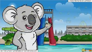 Bear in water clipart image free A friendly koala bear and Water Park Slides Background image free