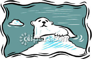 Bear in water clipart banner black and white Polar Bear Climbing Out of Water - Royalty Free Clipart Picture banner black and white