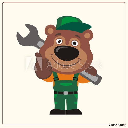Bear looking over shoulder clipart clipart Funny bear wearing overalls with the large wrench on her shoulder ... clipart