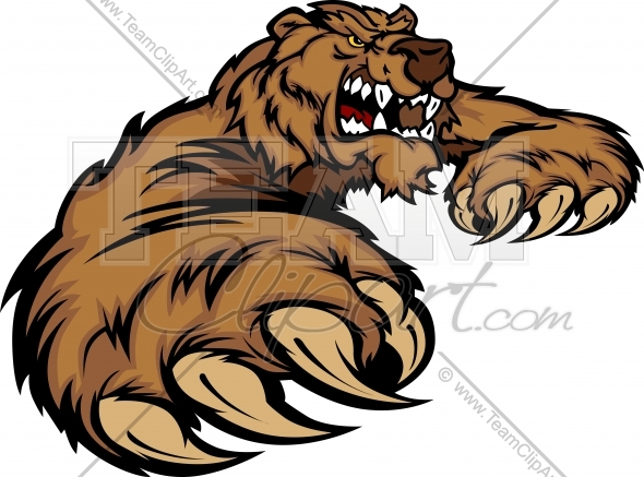 Bear mascot clipart graphic transparent stock Grizzly Bear Mascot Body with Paws and Claws - Team Clipart graphic transparent stock