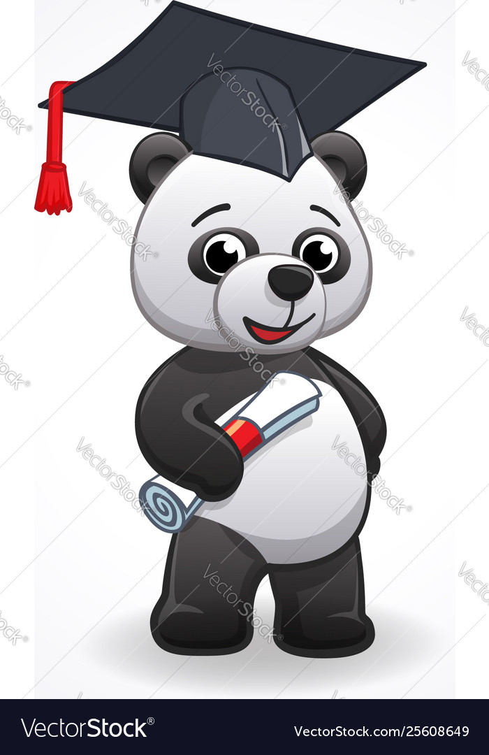 Bear running graduate clipart banner library library Cartoon panda graduating banner library library