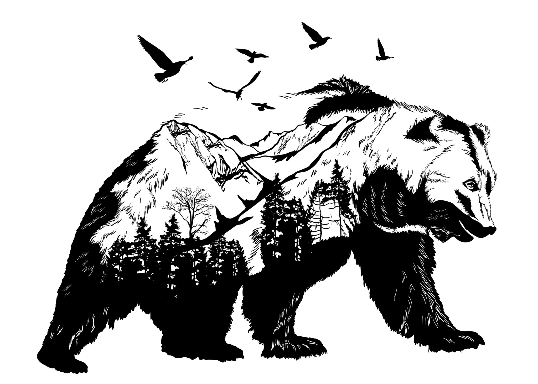 Bear scene clipart vector royalty free library Black Bear with Mountain Scene vector royalty free library
