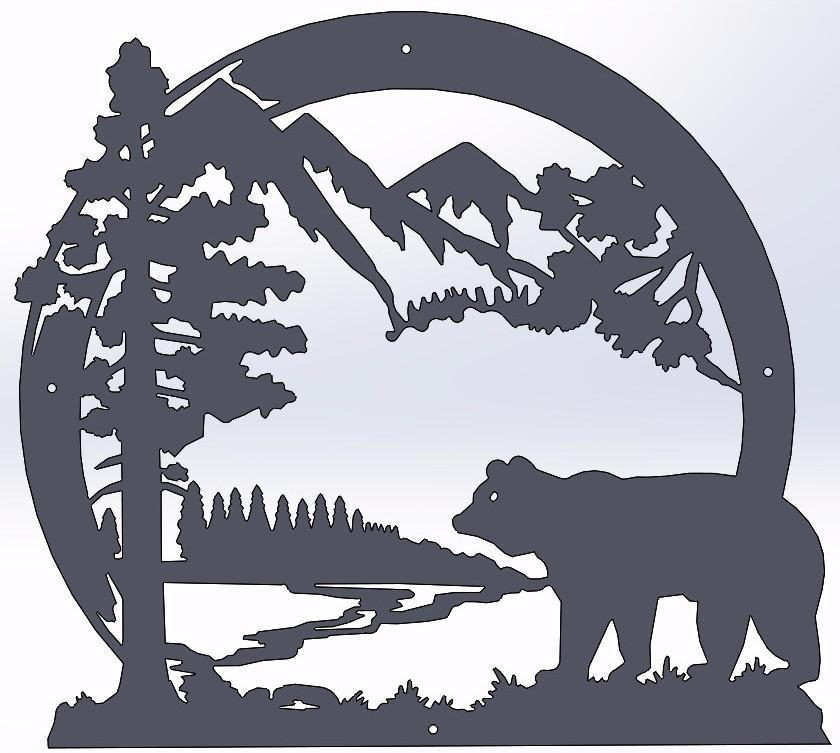 Bear scene clipart jpg Bear Circle Scene jpg